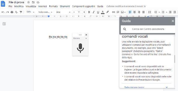 Come dettare al computer su Documenti Google
