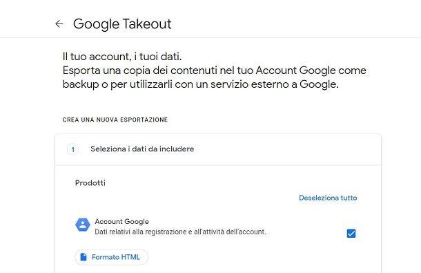 Backup dati di Google