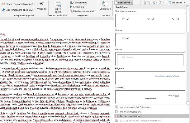 Come eliminare intestazione pagina Word
