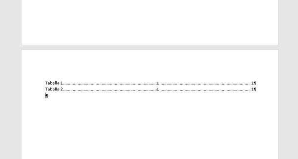 Indice tabella Word