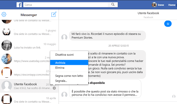 Come cancellare messaggi Facebook