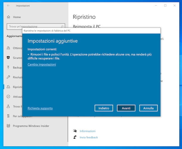 Funzione Reimposta il PC di Windows 10
