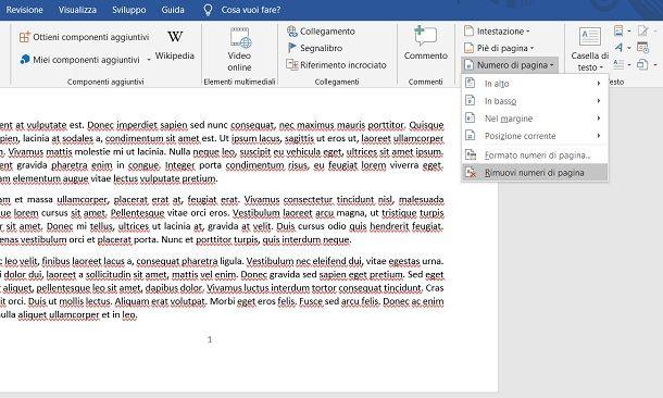 Come eliminare numero pagina Word