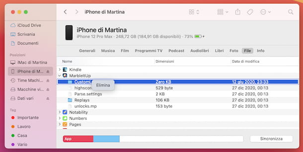 iPhone collegamento Finder macOS