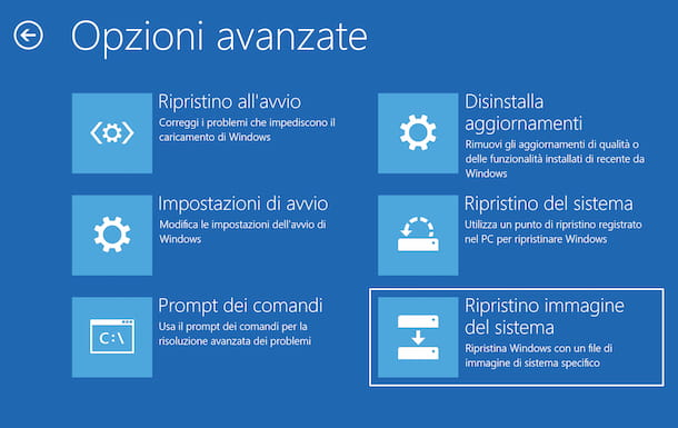 Ripristino di Windows 10 da backup
