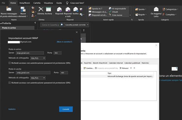 Configurazione manuale Outlook