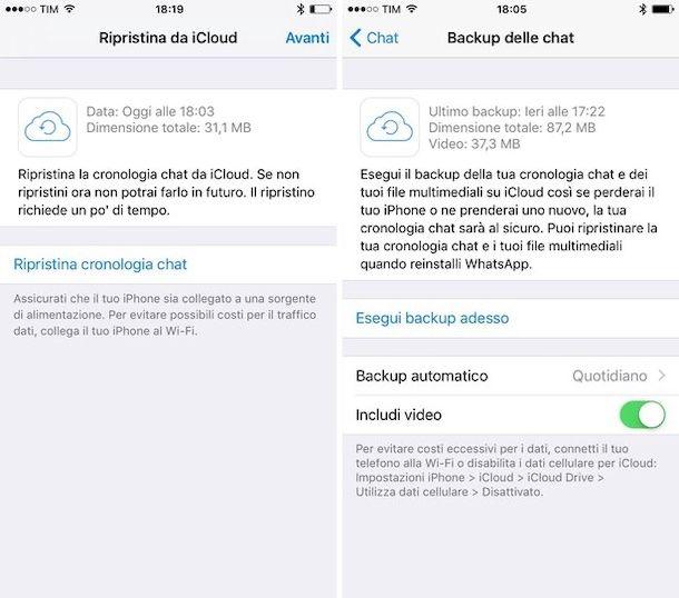 Ripristinare WhatsApp iPhone