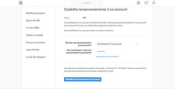 Disattivare account Instagram da PC