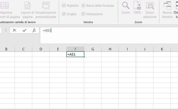 Come bloccare riga Excel dollaro