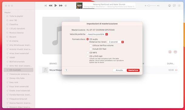 Musica masterizzazione CD