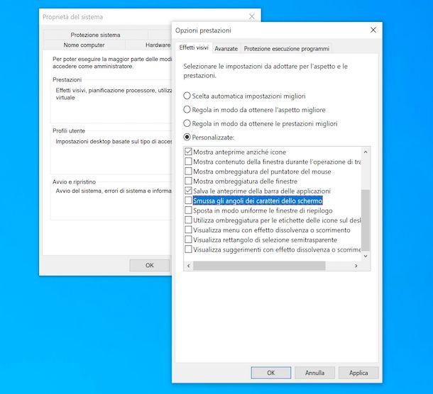 Effetti grafici Windows 10