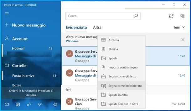 Posta di Windows 10