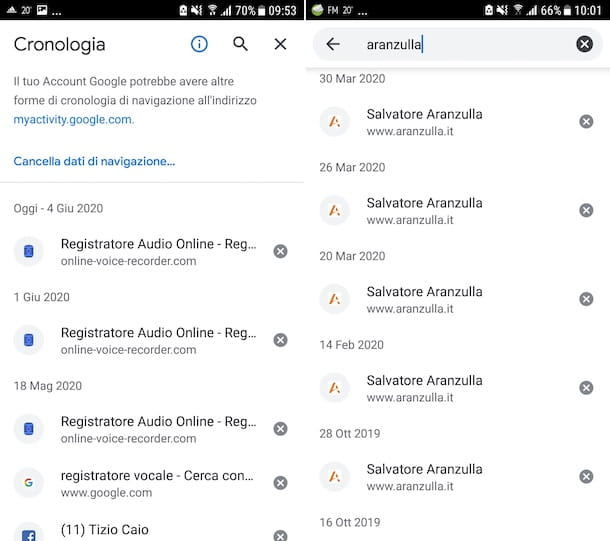 Cronologia Chrome Android