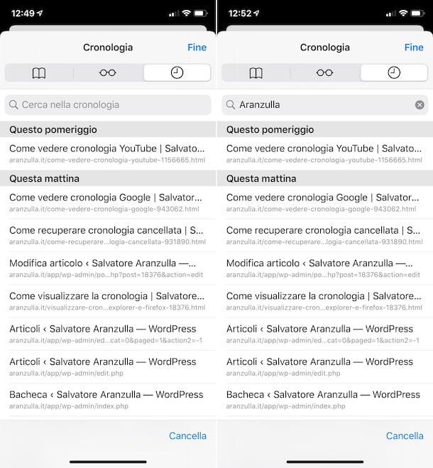 Cronologia Safari iPhone
