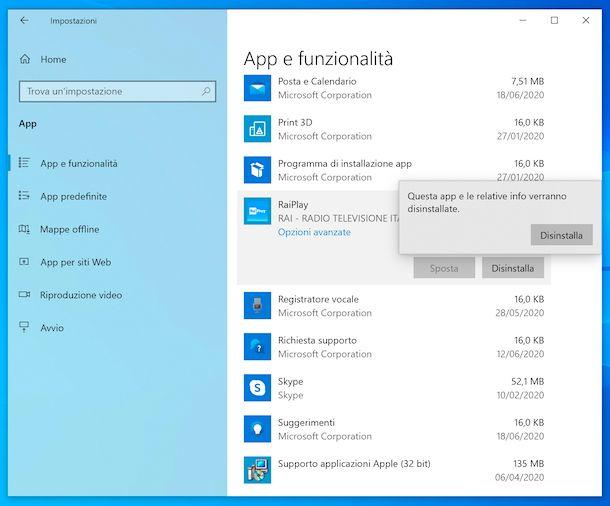 Disinstallazione programmi Windows 10