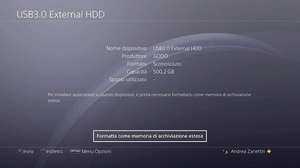 Come formattare hard disk esterno: PS4
