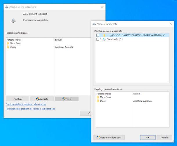 Indicizzazione file Windows 10