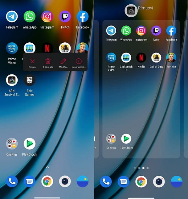 Come nascondere icone app Android OnePlus