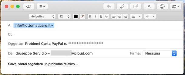 Contattare PayPal via email