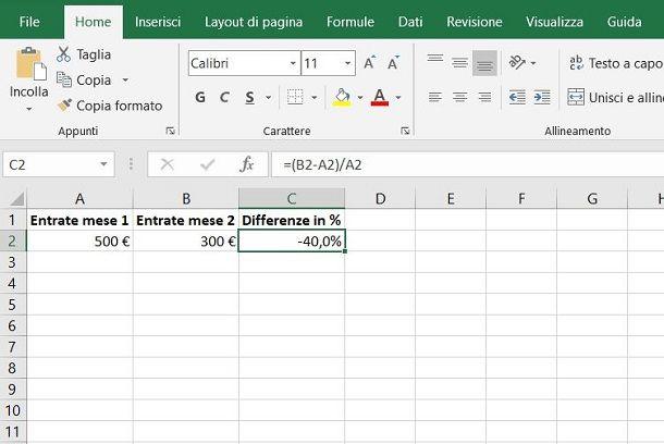 Come calcolare la variazione percentuale in Excel