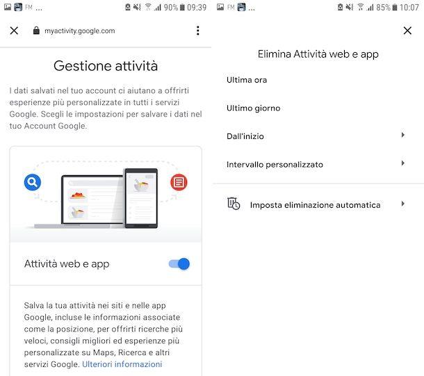 Cancellazione cronologia ricerche Google su Android