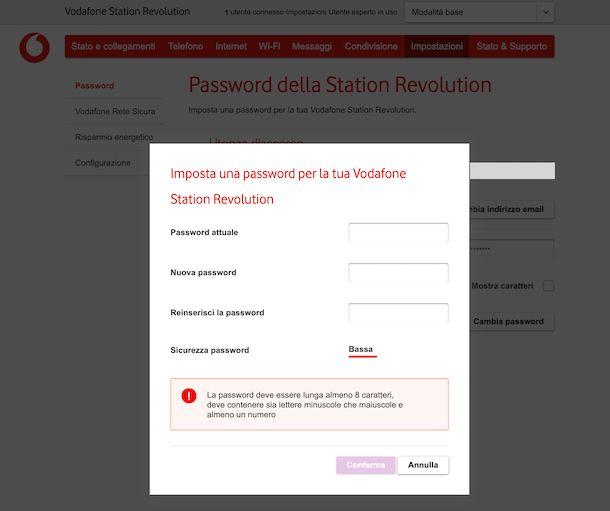 Come cambiare password al modem Vodafone