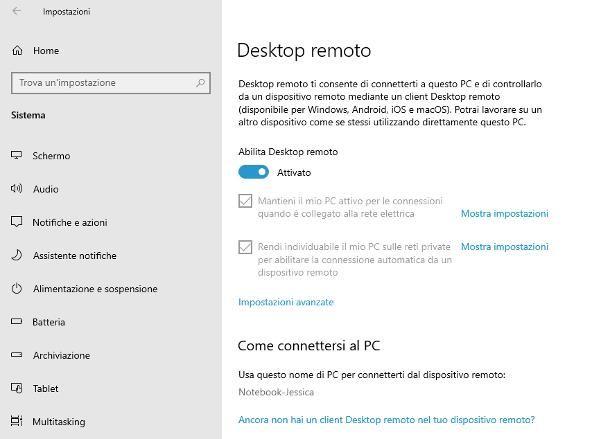 Come abilitare desktop remoto: Windows 10