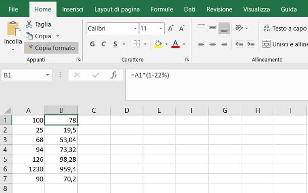 Sottrarre IVA su Excel