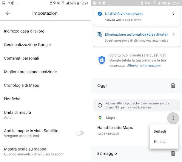 Cancellazione cronologia ricerche Google Maps su Android