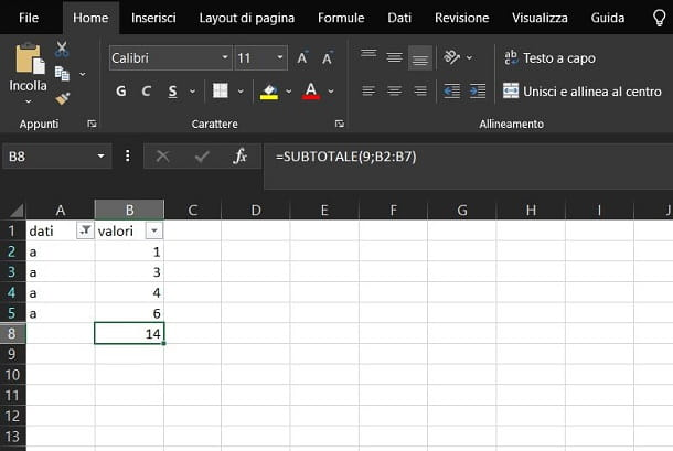 Sommare colonna Excel con filtro