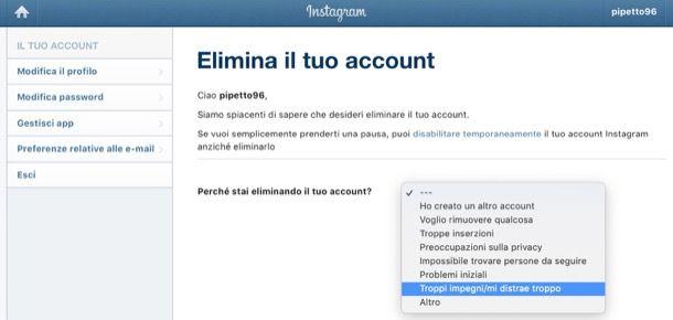 Eliminare account Instagram