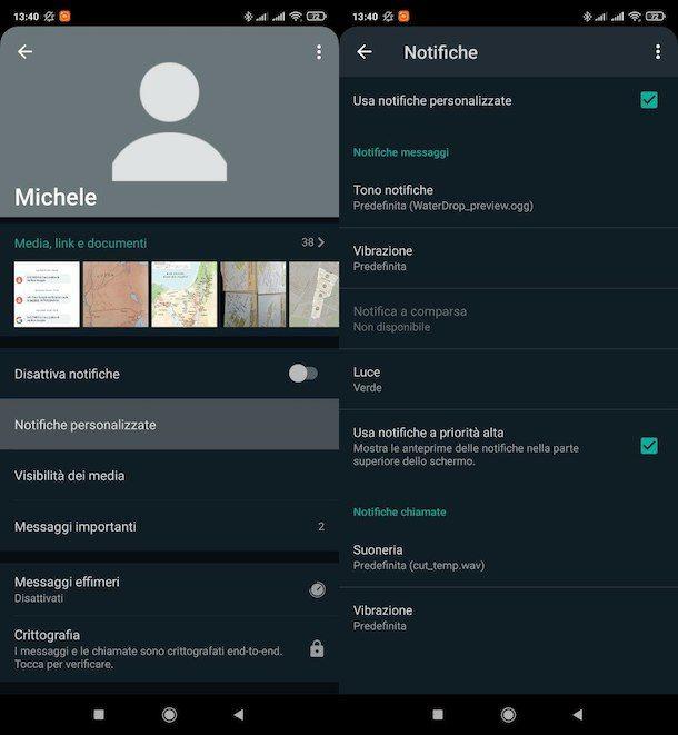 Cambiare suoneria WhatsApp per contatto Android