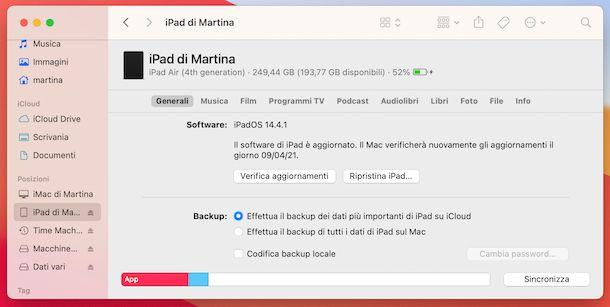Reset iPad da Finder