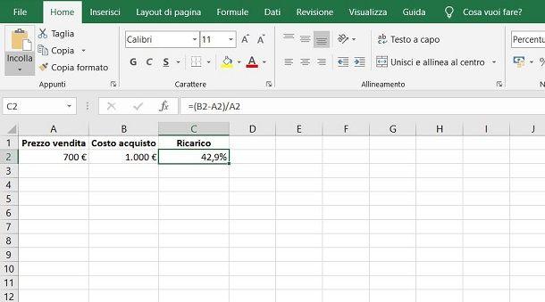 Come calcolare la percentuale di ricarico in Excel