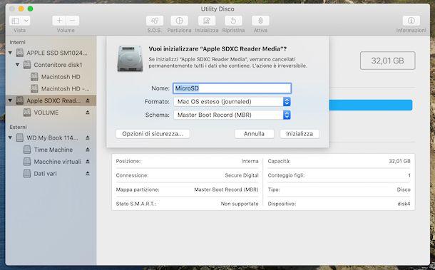 Formattazione MicroSd con Utility Disco su macOS