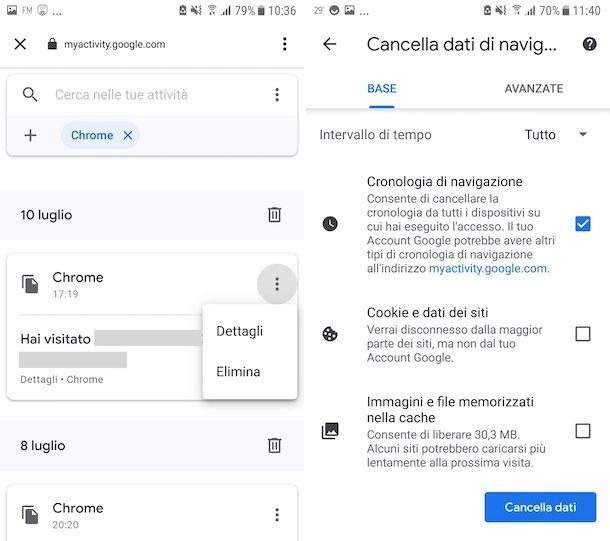 Cancellazione cronologia ricerche Google Chrome su Android