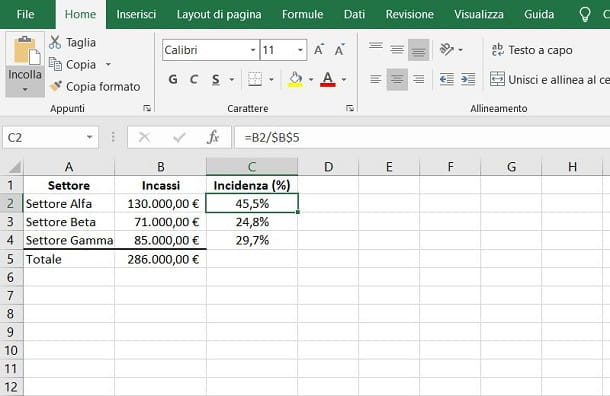 Come calcolare l'incidenza percentuale in Excel