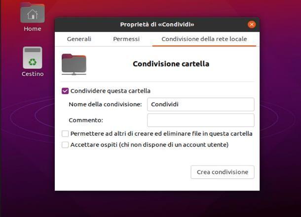 Come condividere una cartella in rete con Ubuntu