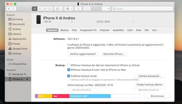 Vedere ICCID da Finder Mac
