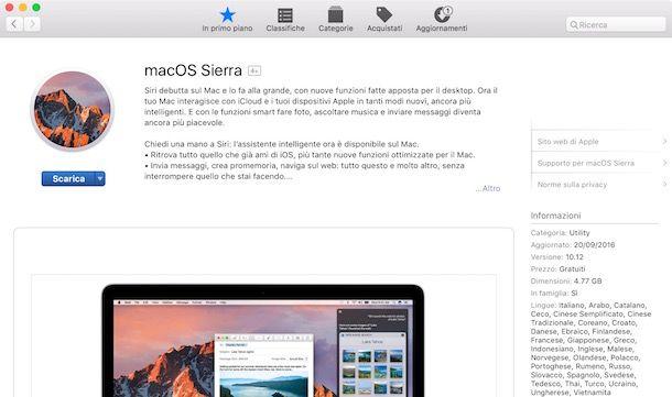 Come installare macOS Sierra