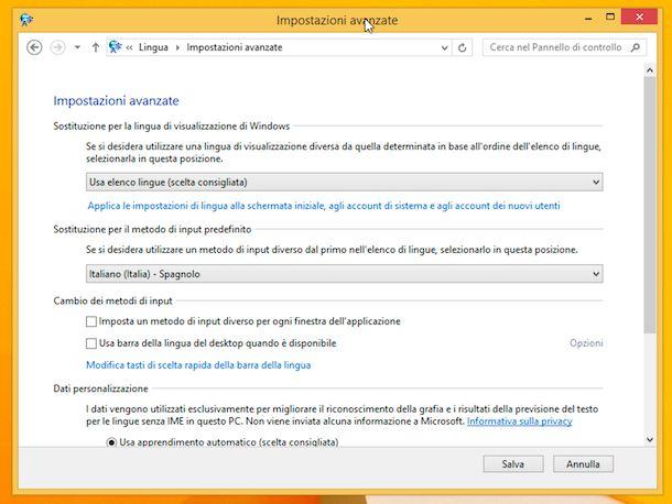 Input layout tastiera Windows 8