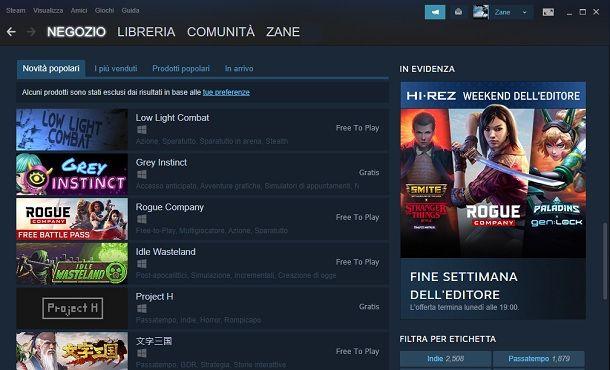 Steam giochi gratis da scaricare per PC