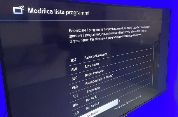 Come ordinare i canali TV: Sony Bravia