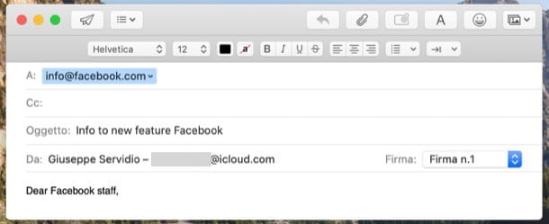 Contattare Facebook via email
