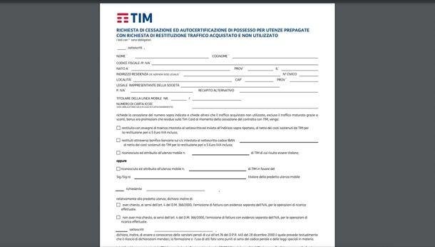 Disdire TIM ricaricabile