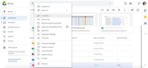 Condividere file su Google Drive da computer