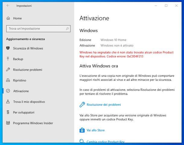 Mancata attivazione Windows 10