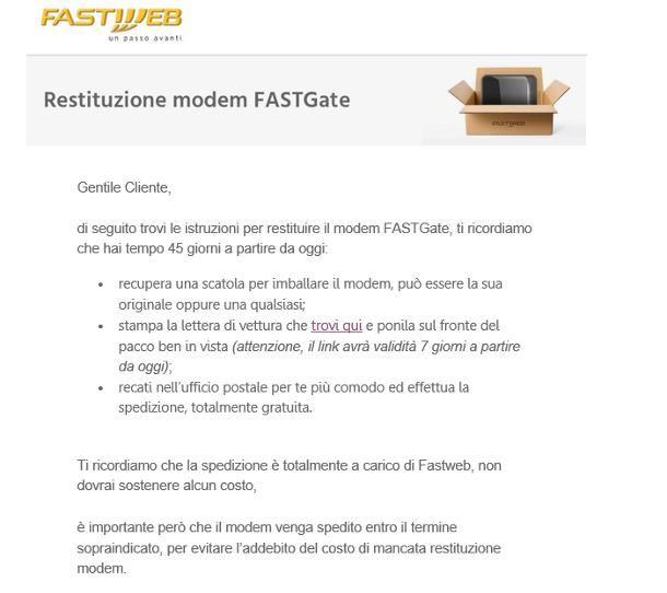 Come restituire modem Fastweb tramite Poste Italiane