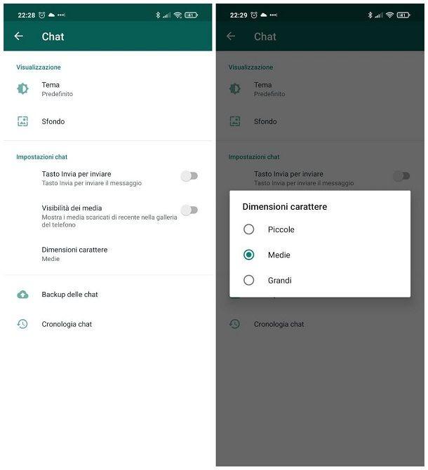 Come ingrandire i caratteri su WhatsApp