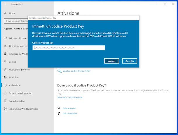 Attivazione Windows 10 da Impostazioni